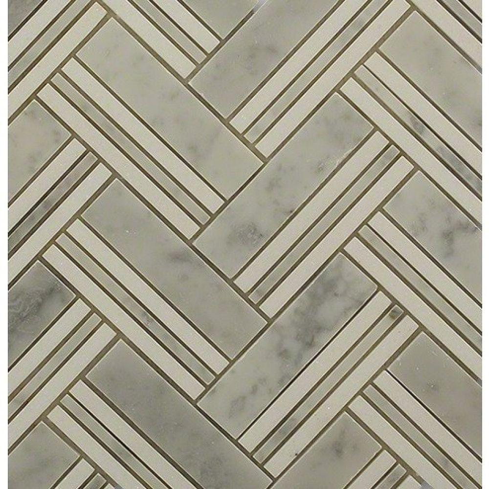 Boost White Carrera with Thassos Line Marble Mosaic Tile - 3