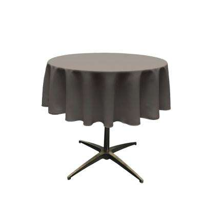58 in. Round Charcoal Polyester Poplin Tablecloth