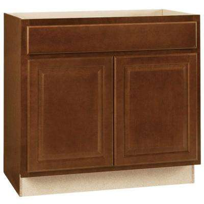 Hampton Assembled 36x34.5x24 in. Base Kitchen Cabinet with Ball-Bearing Drawer Glides in Cognac