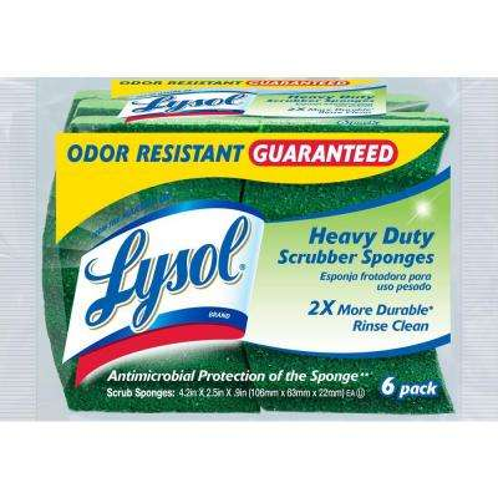 Odor Resistant Heavy Duty Scrubber Sponges (6-Pack)