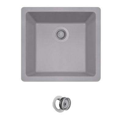 All-in-One Dualmount Composite 18 in. Single Bowl Kitchen Sink in Silver