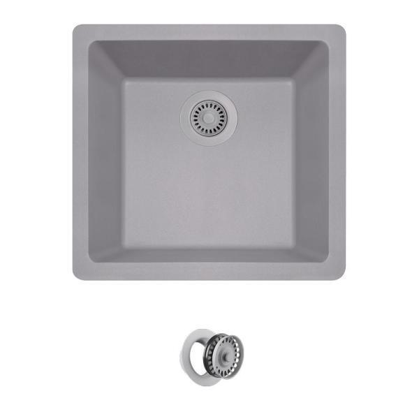 Mr Direct Silver Quartz Granite 18 In Single Bowl Dualmount Kitchen Sink With Matching Flange 805 S Cfl The Home Depot