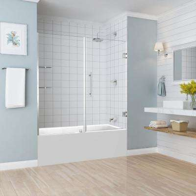 BelmoreGS 59.25 in. to 60.25 in. x 60 in. Frameless Hinged Tub Door with Glass Shelves in Stainless Steel