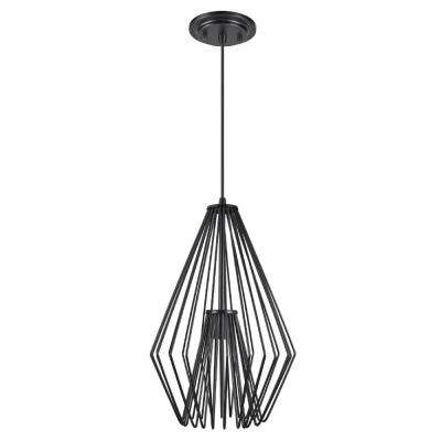 1-Light Black Mini Pendant with Metal Wire Shade