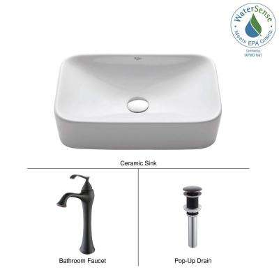 Soft Rectangular Ceramic Vessel Sink in White with Ventus Faucet in Oil Rubbed Bronze