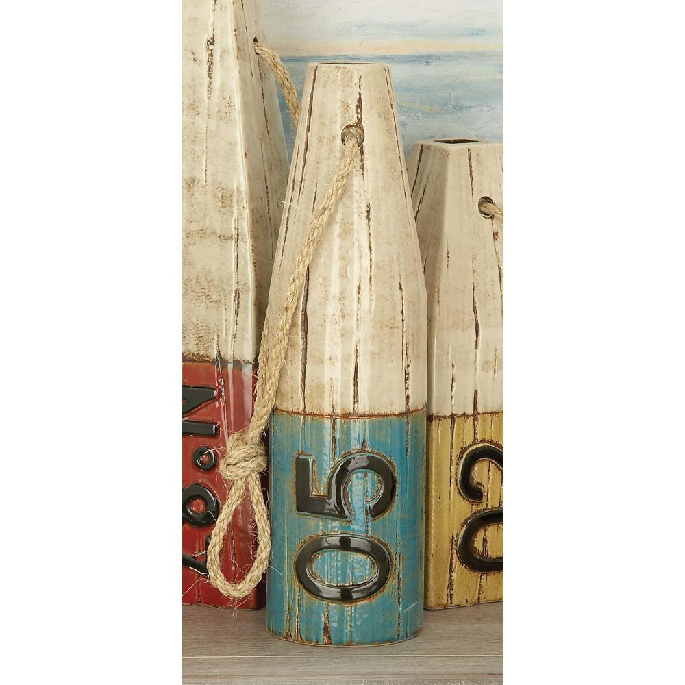 14 in. Blue Nautical Ceramic Rope Buoy Decorative Vase