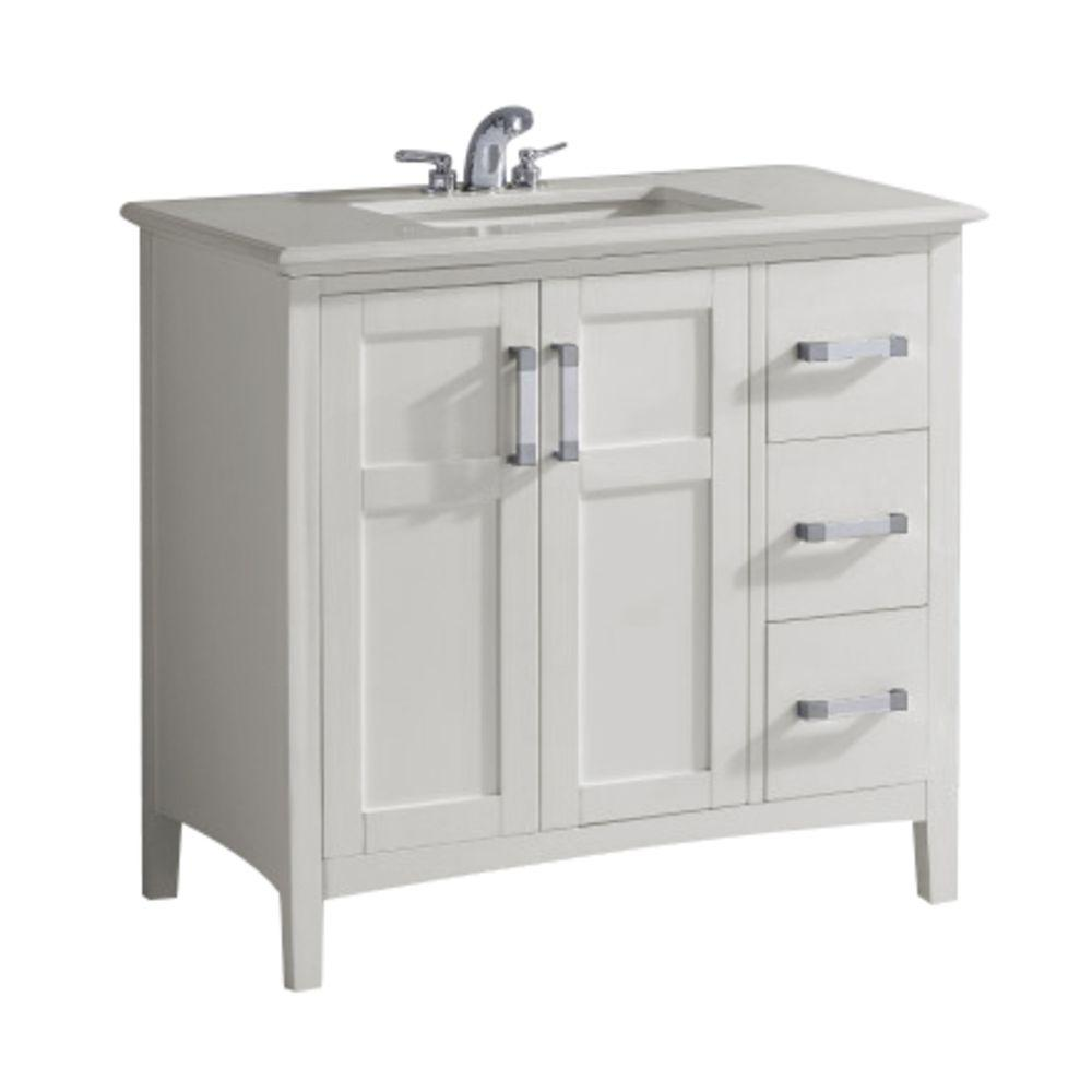 Simpli Home Winston 36 in. Bath Vanity in Soft White with Quartz Marble Vanity Top in Bombay White with White Basin