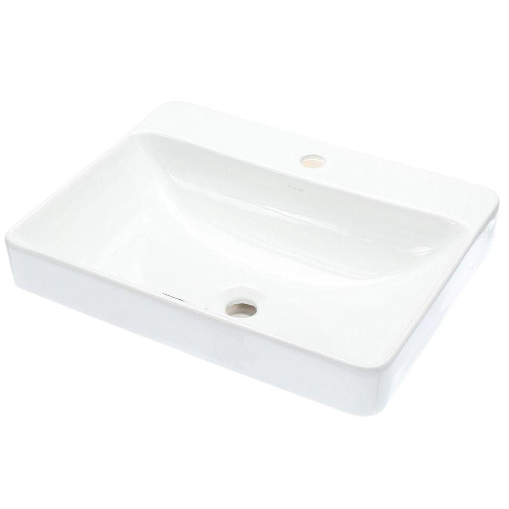 Bathroom sink rectangular - Vox Vitreous China Vessel Sink In White With Overflow Drain