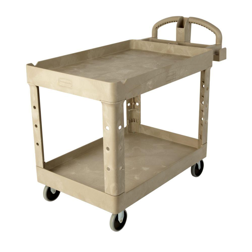 Merveilleux Rubbermaid Commercial Products Heavy Duty Beige 2 Shelf Utility Cart With  Lipped Shelf In Medium