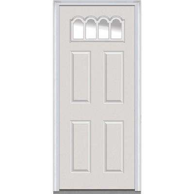 32 in. x 80 in. Right-Hand Inswing Gothic 1/4-Lite Clear 4-Panel Classic Primed Fiberglass Smooth Prehung Front Door