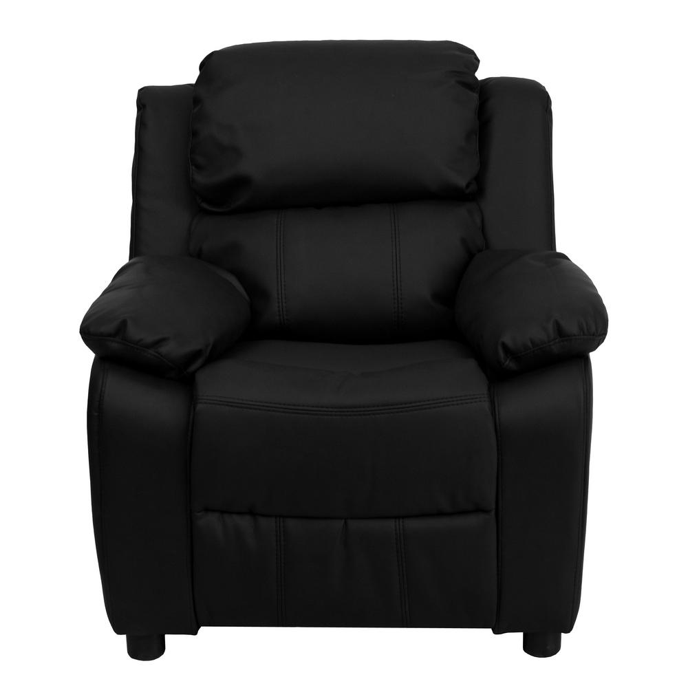 FLASH Deluxe Padded Contemporary Black Leather Kids Recli...