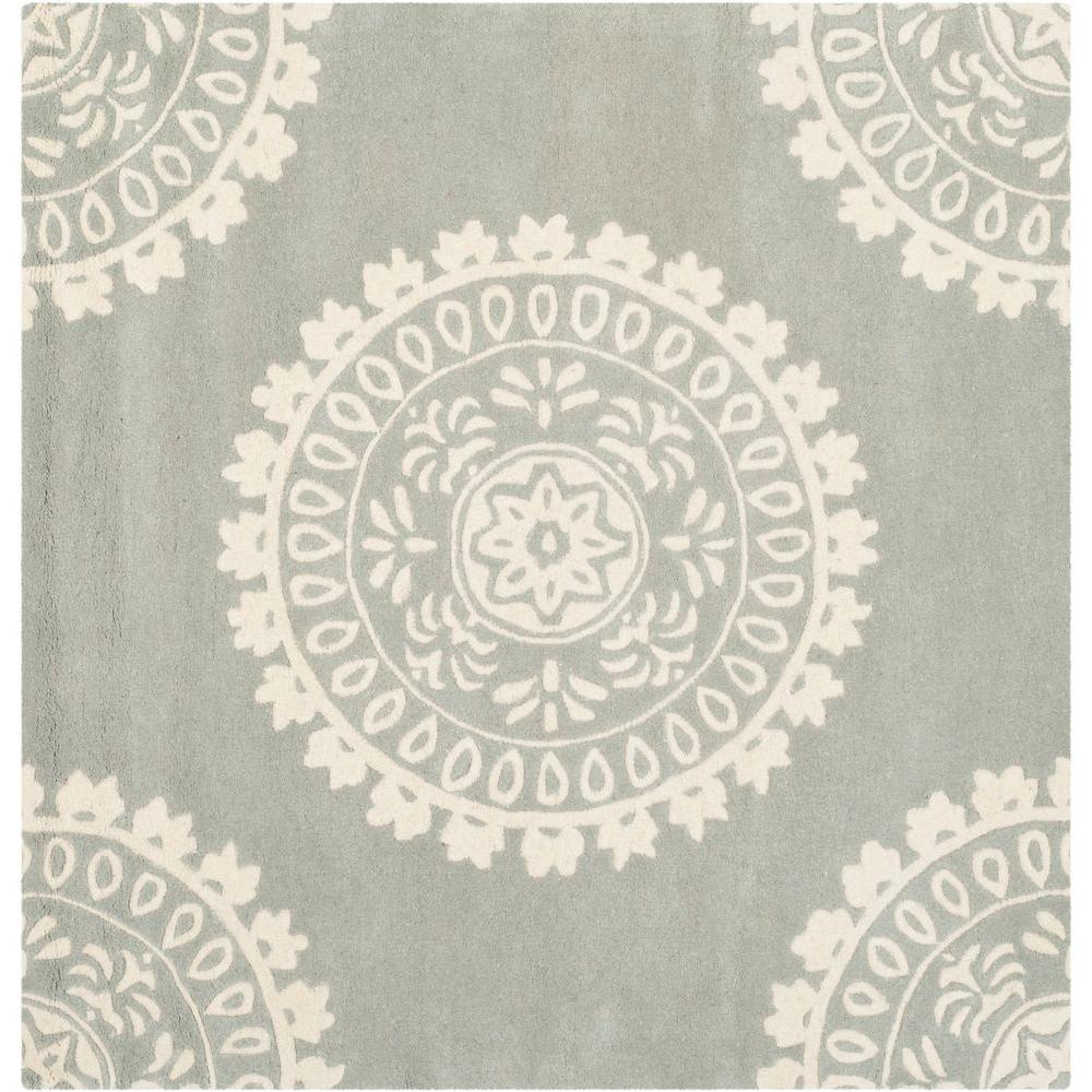 Bella Grey/Ivory 5 ft. x 5 ft. Square Area Rug