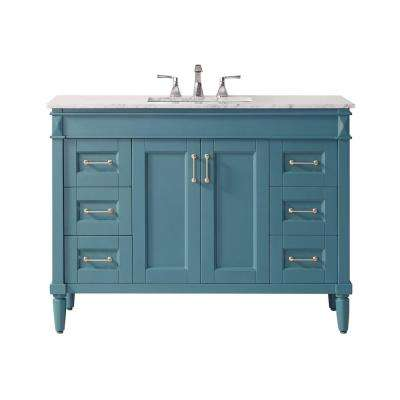 """Catania 48"""" Vanity in RoyalGreen with Carrara White Marble Countertop Without Mirror"""