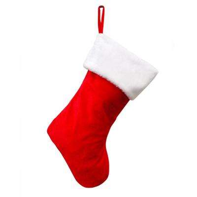 17 in. Fabric Red and White Hang Right Stocking