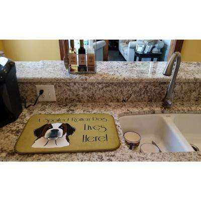14 in. x 21 in. Multicolor Saint Bernard Spoiled Dog Lives Here Dish Drying Mat