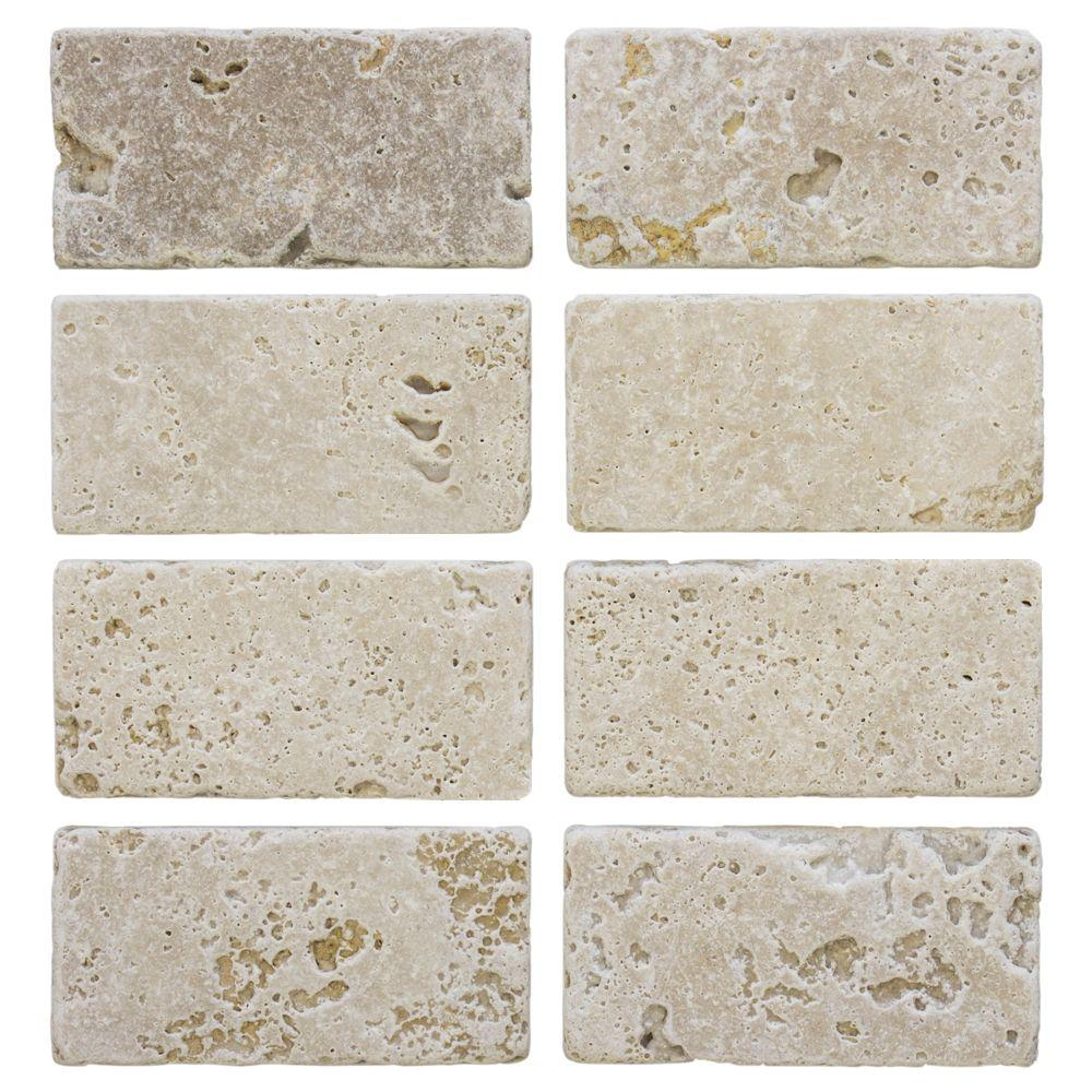 Jeffrey Court Light Travertine 3 in. x 6 in. Travertine Wall Tile ...