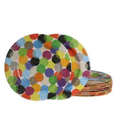 Party Circles Orange Melamine Dessert Plate (Set of 12)