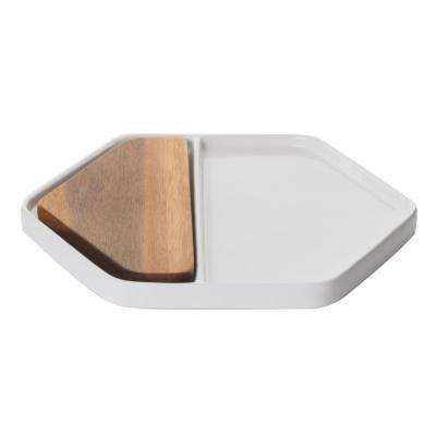 Urban Story Ceramic Tray with Wood Insert