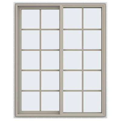 47.5 in. x 59.5 in. V-4500 Series Left-Hand Sliding Vinyl Window with Grids - Tan