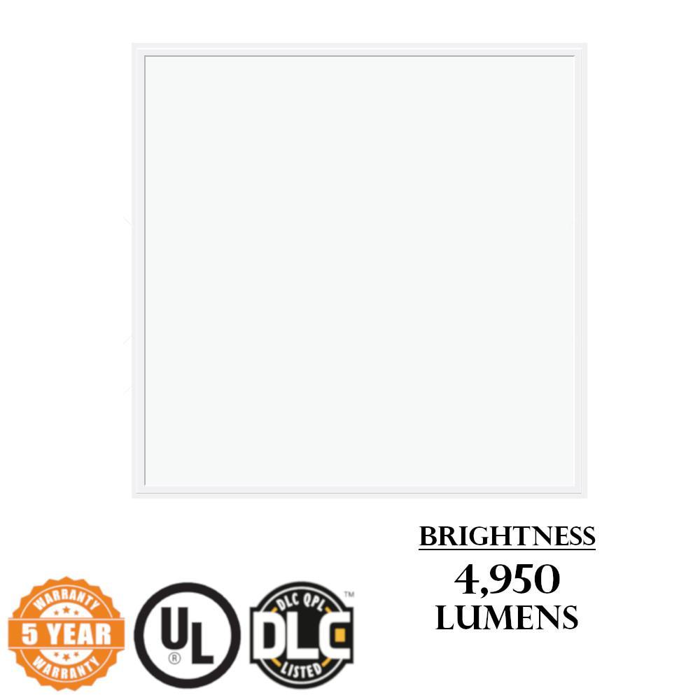 2x2 Panel Light 45-Watt White Integrated LED Dimmable Flush Mount