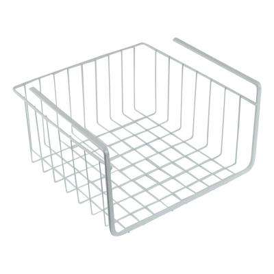 11 in. White Wire Under Shelf Storage Organization Basket