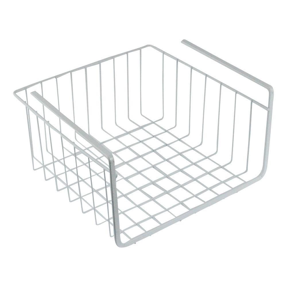 11 in. White Wire Under Shelf Storage Organization Basket