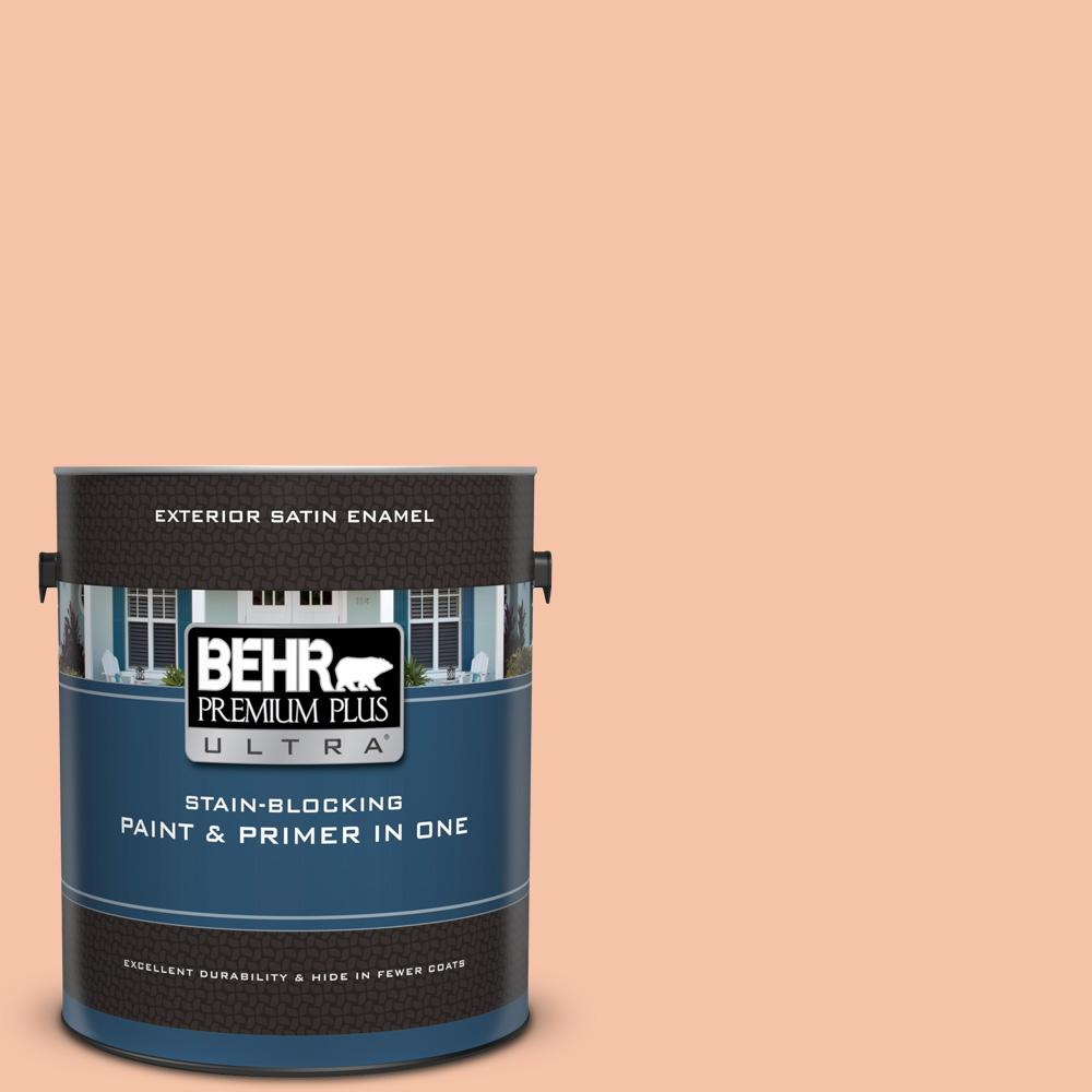 Behr Premium Plus Ultra 1 Gal 240c 3 Peach Damask Satin Enamel Exterior Paint And Primer In One 985001 The Home Depot
