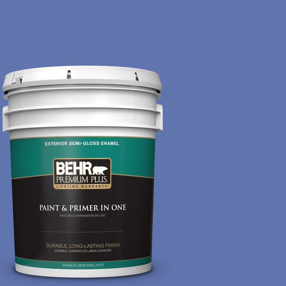 5-gal. #600B-6 Sudden Sapphire Semi-Gloss Enamel Exterior Paint