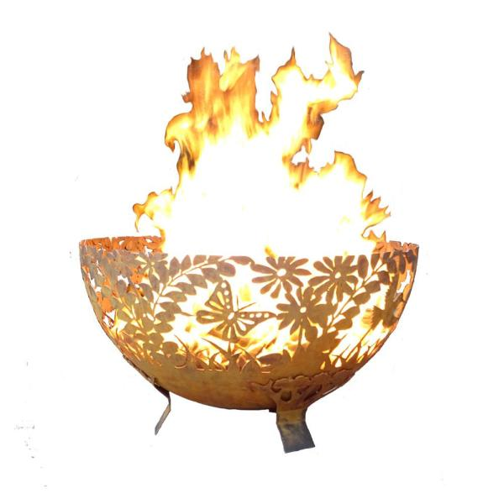 Garden 32 in. x 19 in. Round Steel Wood Burning Fire Pit in Rust