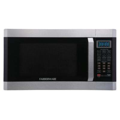 1.6 cu. Ft. 1100- Watt Countertop Microwave Oven with Smart Sensor in Stainless Steel with Platinum