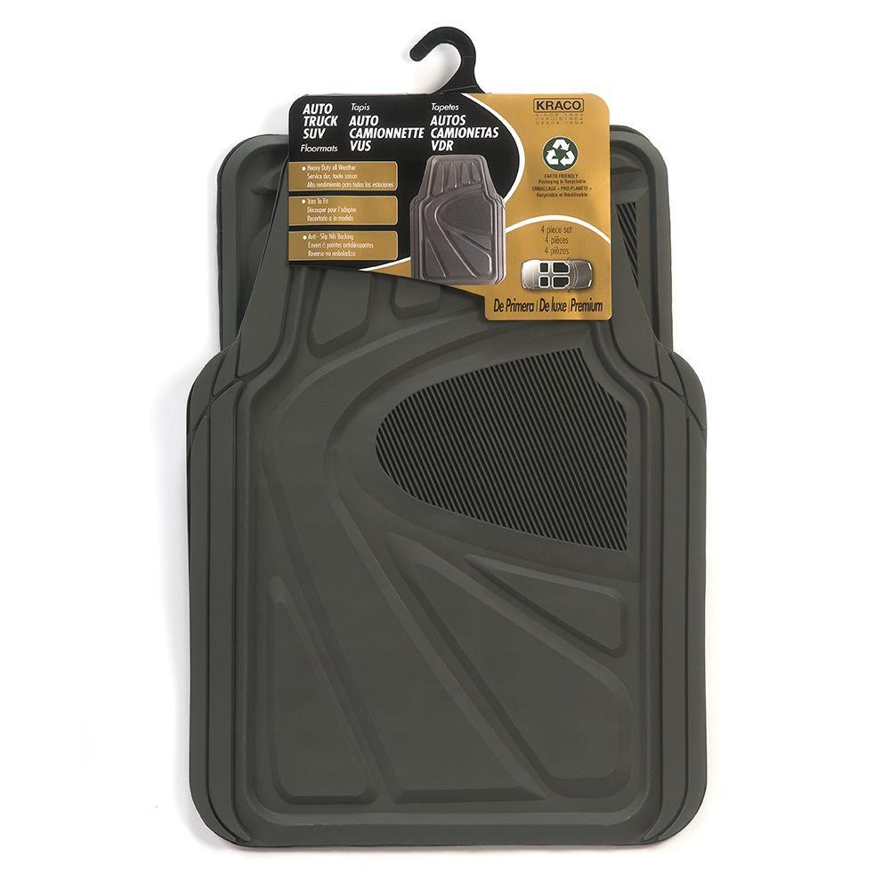 Kraco Grey Trimmable Rubber Floor Mat Set 4 Piece