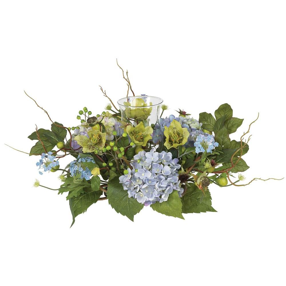 Nearly Natural Hydrangea Candelabrum Silk Flower Arrangement 4632 Bl