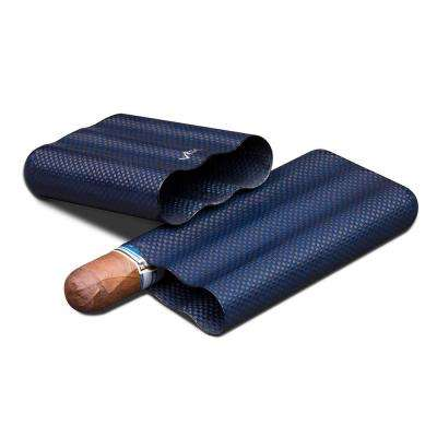 Blue Kevlar and Carbon Fiber Cigar Case - 3 Fingers