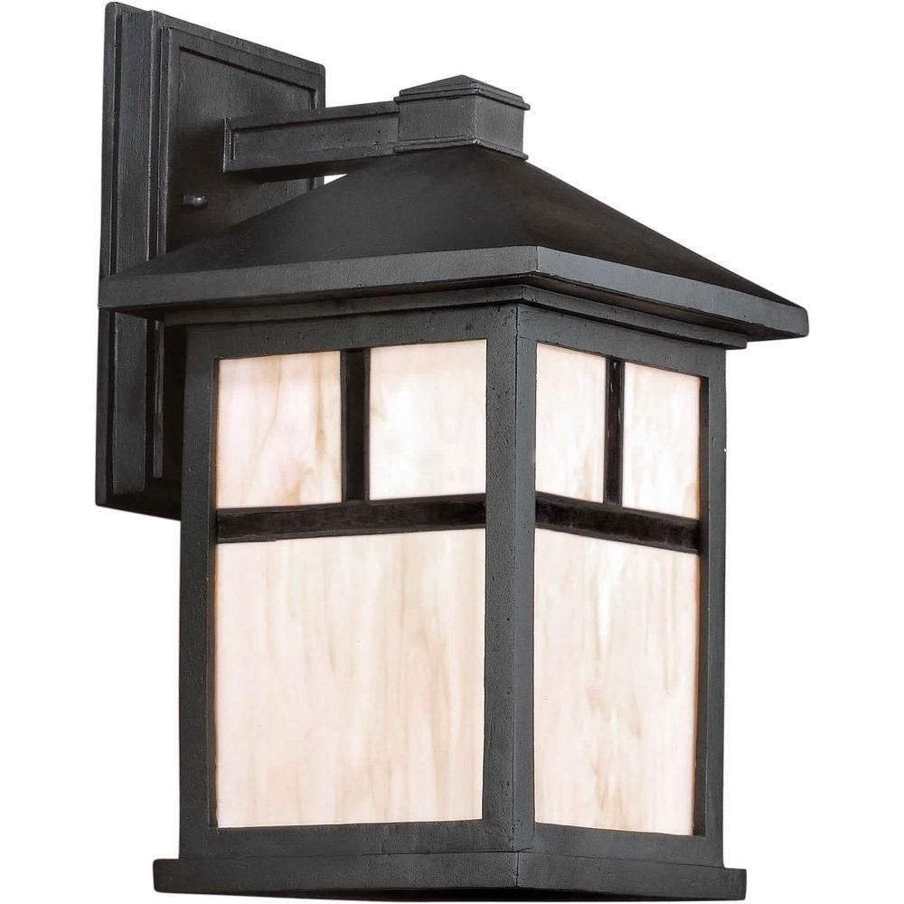 Talista 1-Light Outdoor Black Lantern with Honey Glass Panels