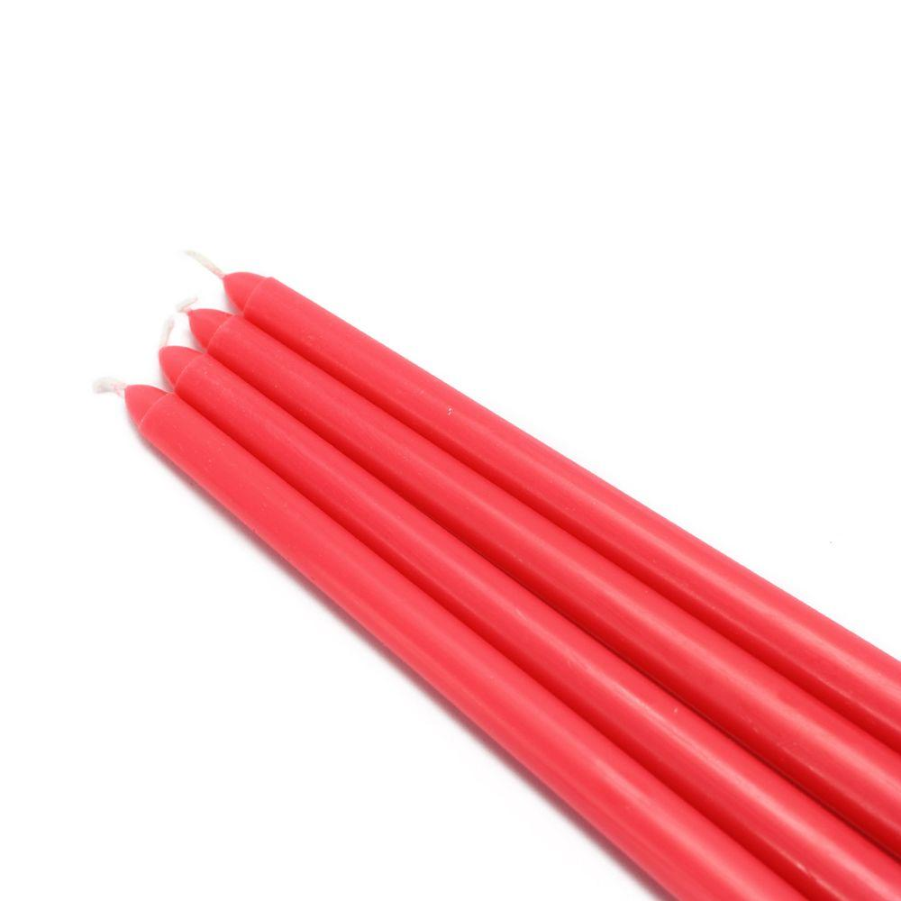 12 in. Ruby Red Taper Candles (12-Set), Reds / Pinks