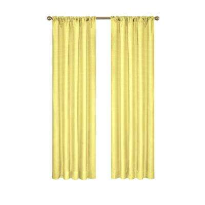 Kendall Blackout Polyester Window Curtain Panel in Lemon - 42 in. W x 63 in. L