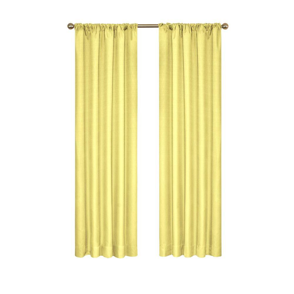 Eclipse Kendall Blackout Window Curtain Panel in Lemon - 42 in. W x 84 in. L