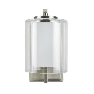 1-Light Satin Nickel Vanity Light with Clear Glass Shade