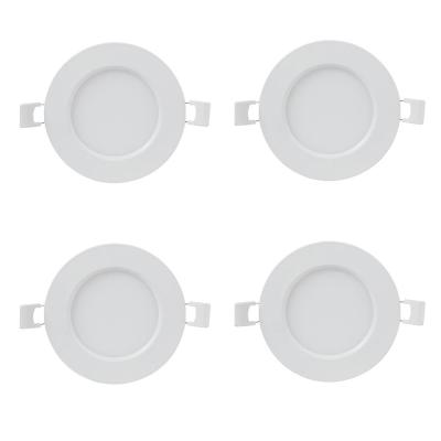 4 in. 3000K Bright White Round Flat Panel J-Box Integrated LED Recessed Trim Downlight (4-Pack)