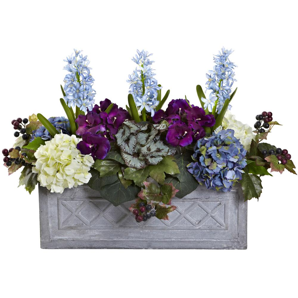Nearly Natural Indoor Hyacinth And Hydrangea Artificial Arrangement In Stone Planter 1395 The Home Depot