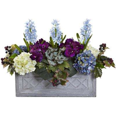 Indoor Hyacinth and Hydrangea Artificial Arrangement in Stone Planter