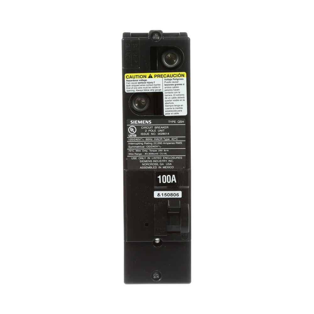 Siemens 100 Amp Double-Pole 22kA Type QS Multi-Family Main Breaker ...