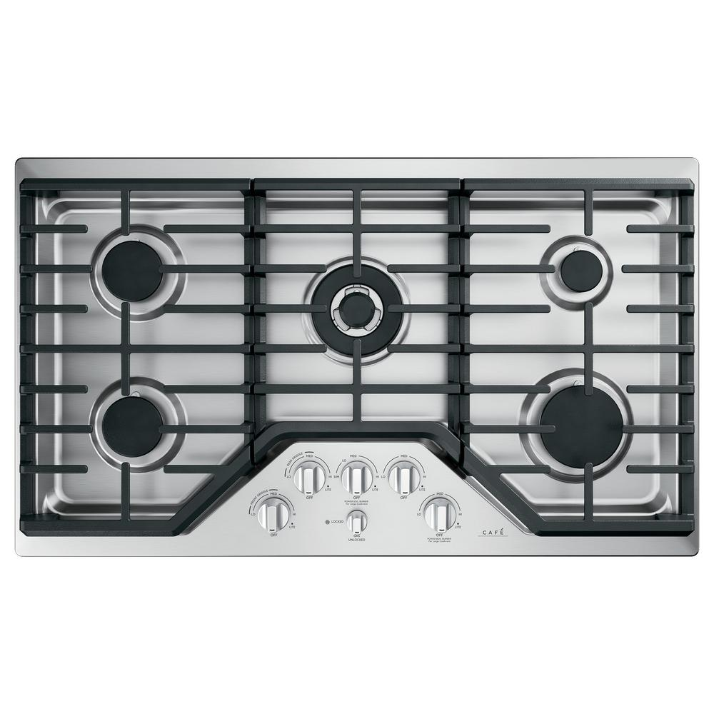 36 in. Gas Cooktop in Stainless Steel and Brushed Stainless with