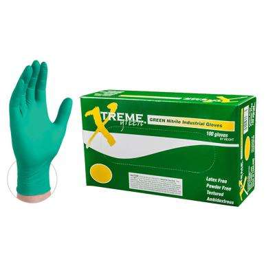 Green Nitrile Industrial Powder-Free Disposable Gloves (10-Boxes of 100-Count) - Large