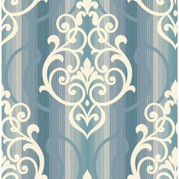 Seabrook Designs Feldspar White Glitter and Blue Diagonal Damask Wallpaper