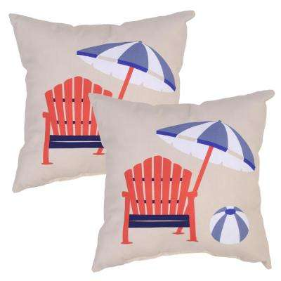 Poolside Adirondack Square Outdoor Throw Pillow (2-Pack)