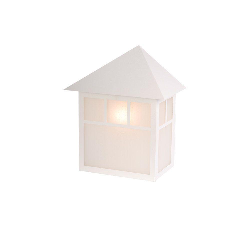 Artisan Collection 1-Light Textured White Outdoor Wall-Mount Light