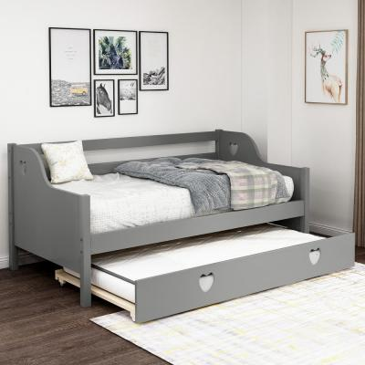 Gray Loving Shape Twin Size Daybed with Trundle
