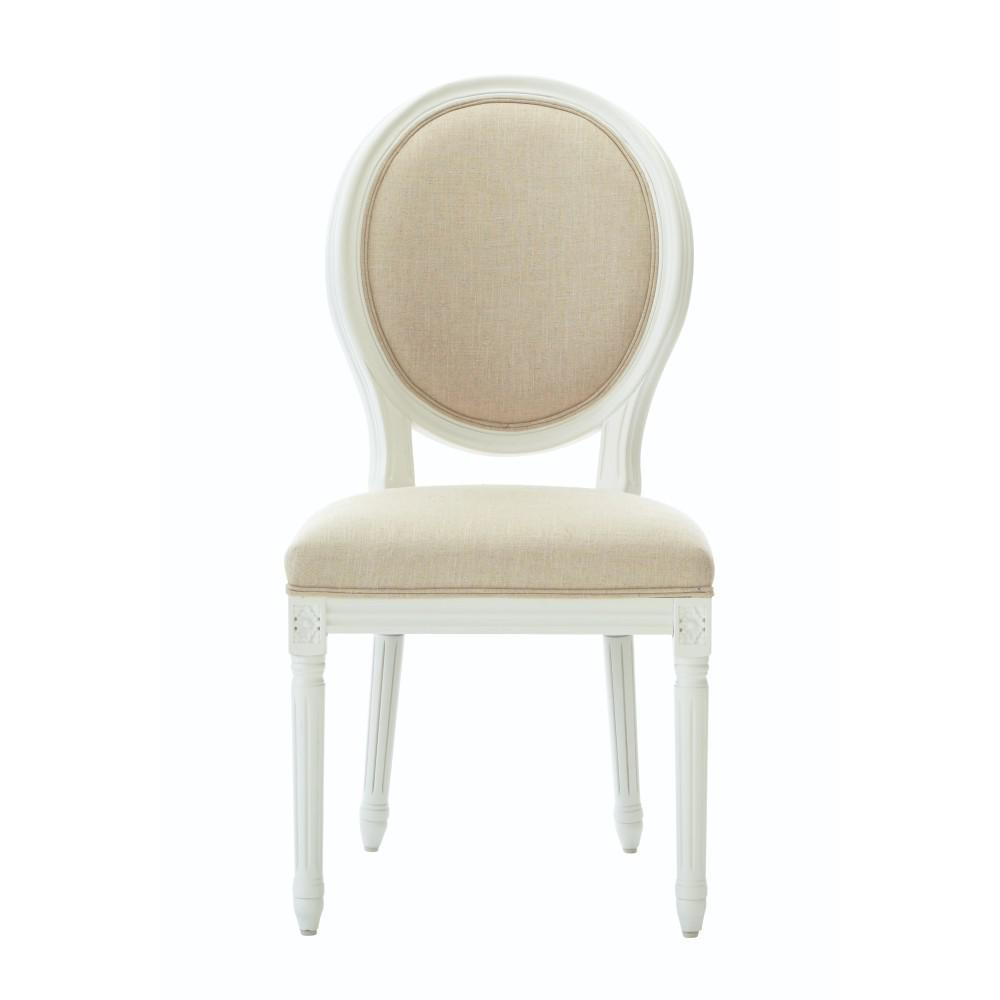 Home Decorators Collection Jacques Antique Ivory Natural Linen Round Back  Dining Chair (Set of 2 - Home Decorators Collection Jacques Antique Ivory Natural Linen Round