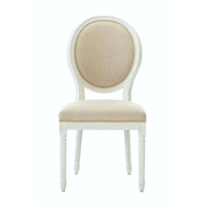 Jacques Antique Ivory Natural Linen Round Back Dining Chair (Set of 2)